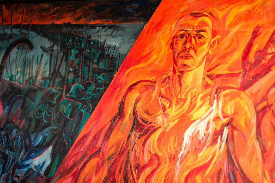 """Bei der Sonderausstellung in Dresden ist auch Heinz-Detlef Moosdorfs großformatiges Gemälde """"Utopia"""" zu sehen gewesen."""