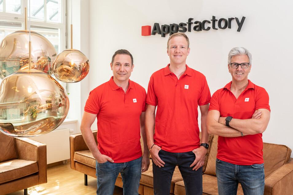 Dr. Roman Belter (COO), Dr. Rolf Kluge (CTO), Dr. Alexander Trommen (CEO) (l-r) sind die Gründer von Appsfactory.