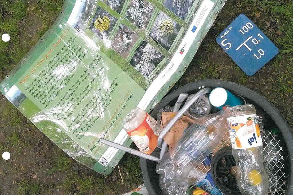 Vandalismus an der Landeskrone. Mehrere Schilder und die Ortungstafel einer Trinkwasserleitung wurden abgerissen.
