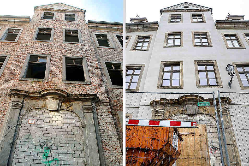 Vor und nach der Außensanierung des Bürgermeisterhauses in Zittau.