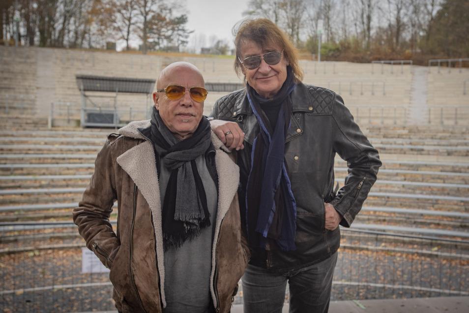 Dieter Birr und Toni Krahl waren am Mittwoch auf dem Hutberg. 2020 kommen sie wieder – bei der Rock-Legenden-Tour.