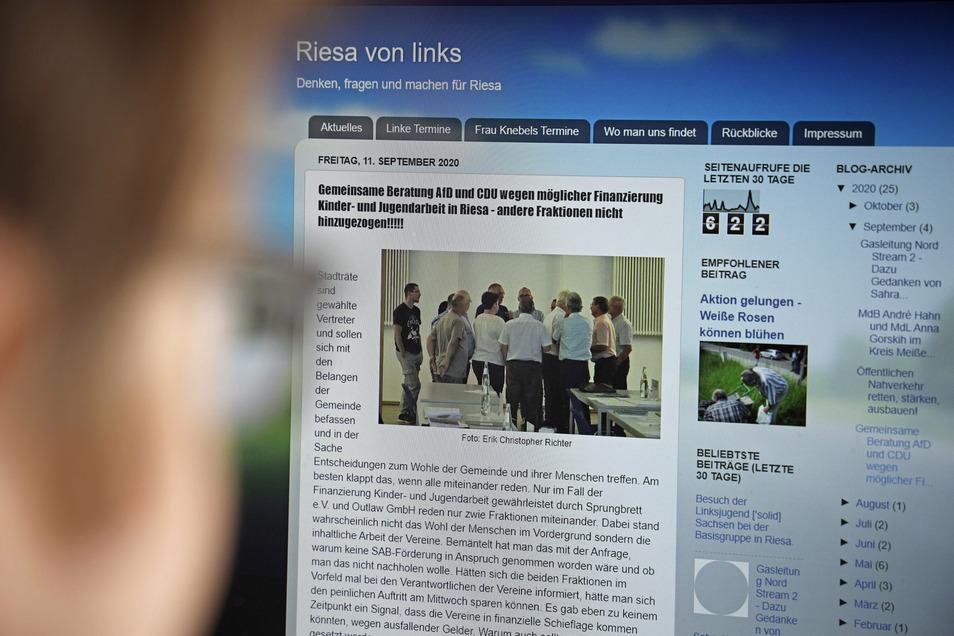 Eine Szene aus dem Riesaer Stadtrat hat Linke-Fraktionsmitglied Erik Christopher Richter fotografiert und übers Internet verbreitet. Das sorgt für Aufruhr unter einigen Räten.