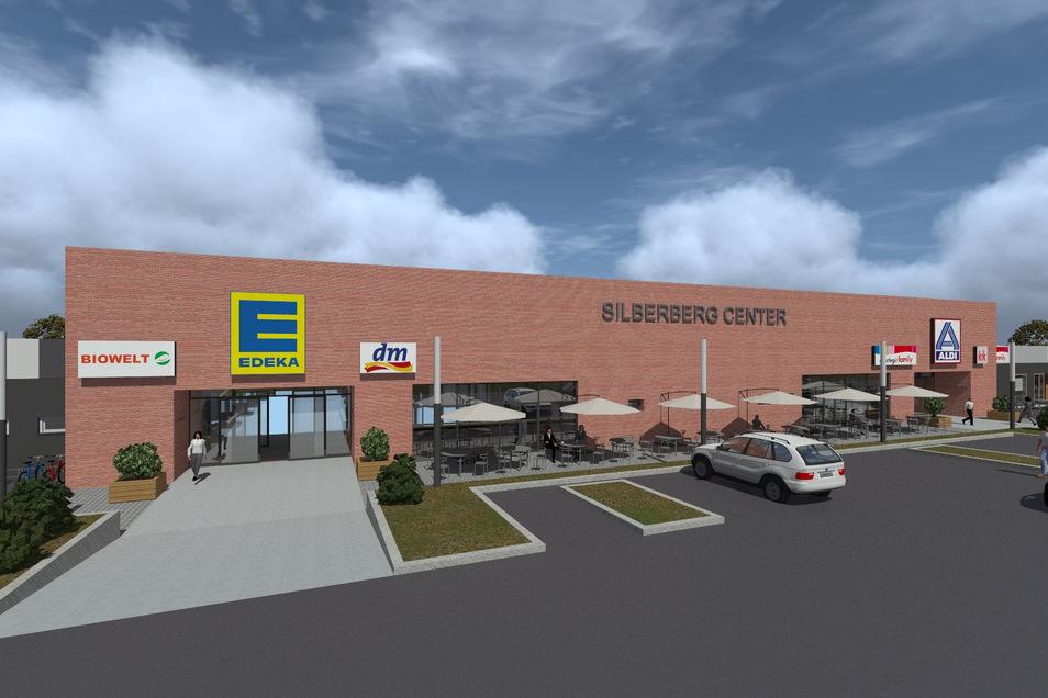 So wird das Einkaufszentrum in Radeberg künftig aussehen. Es wird in Silberberg Center umbenannt.