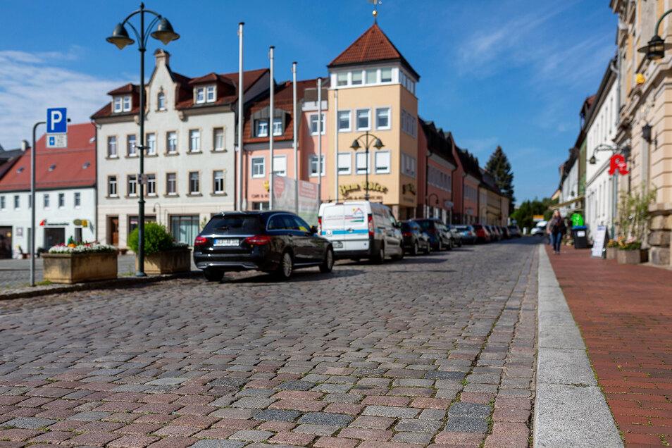 Die Nossener Straße in Wilsdruff soll zwischen Markt und der Straße Gezinge saniert werden.