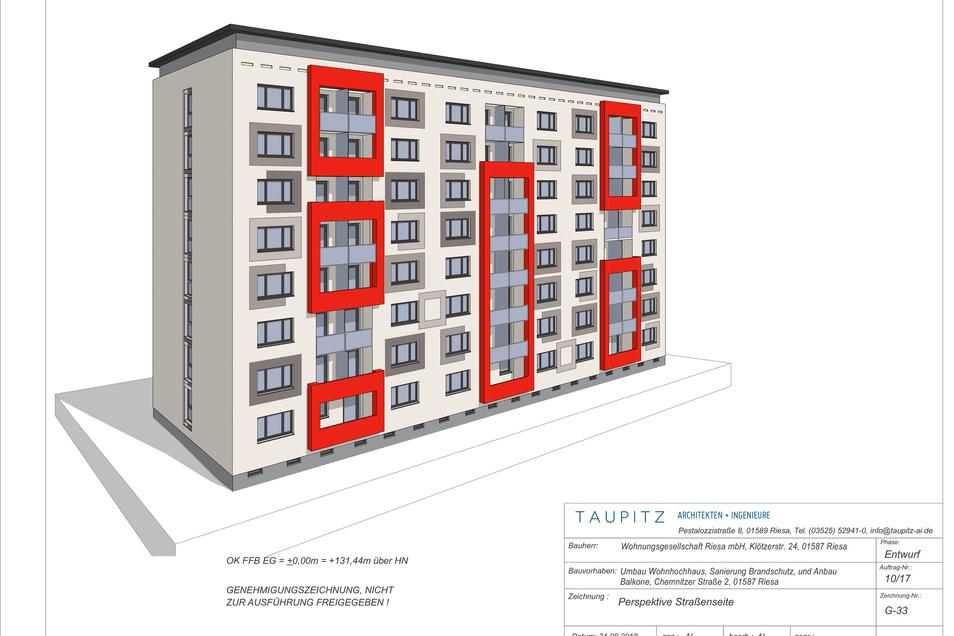 Das Hochhaus Chemnitzer Straße 2 wird ab Mitte April saniert. Bis Mai 2020 sollen die 80 Wohnungen behindertenfreundlich umgebaut sein. Außerdem zieht ein Pflegeunternehmen ein – und der Brandschutz wird auf aktuellen Stand gebracht.