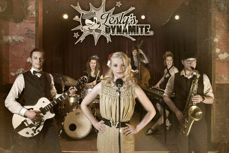 """Valeska Kunath mit ihrer Band """"Lesly's Dynamite"""": Das Sextett will endlich richtig durchstarten."""