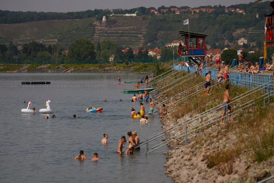 Kann im nächsten Sommer im Stausee Cossebaude noch geschwommen werden? Die Stadt verhandelt darüber mit dem Energiekonzern Vattenfall.