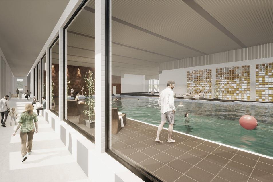 So soll die neue Schwimmhalle - platziert im jetzigen Innenhof - einmal aussehen. Der Zugang wäre in einem Gang links. Durch Glasscheiben können die Eltern beim Schwimmunterricht zuschauen.