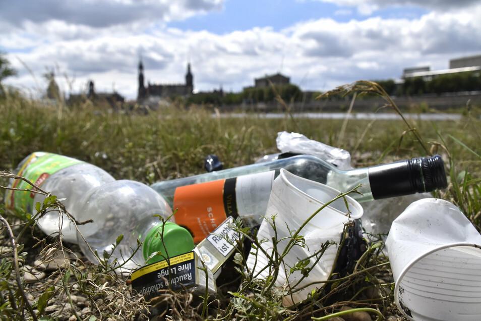 Viele Menschen genießen die Dresdner Stadtsilhouette bei einem Getränk auf den Elbwiesen: Dort bleibt besonders viel Müll liegen. © Marion Doering