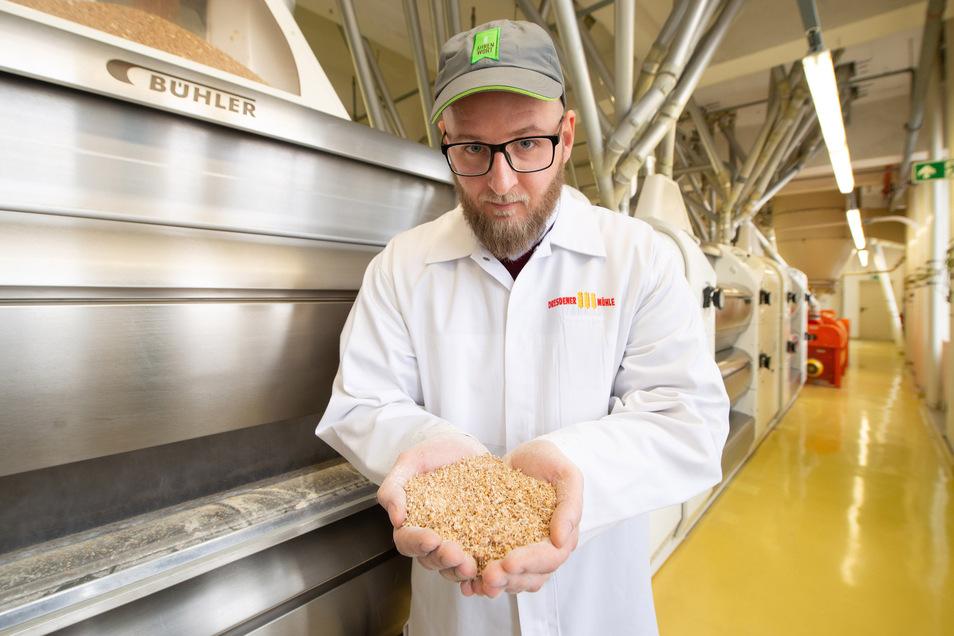 Betriebsleiter Norman Krug zeigt das Getreide nach der ersten Behandlung in der Maschine, bis zu 23 Mahlvorgänge sind nötig. Die Firma sucht dringend Müller-Nachwuchs, der heute Verfahrenstechnologe für die Mühlenwirtschaft heißt.