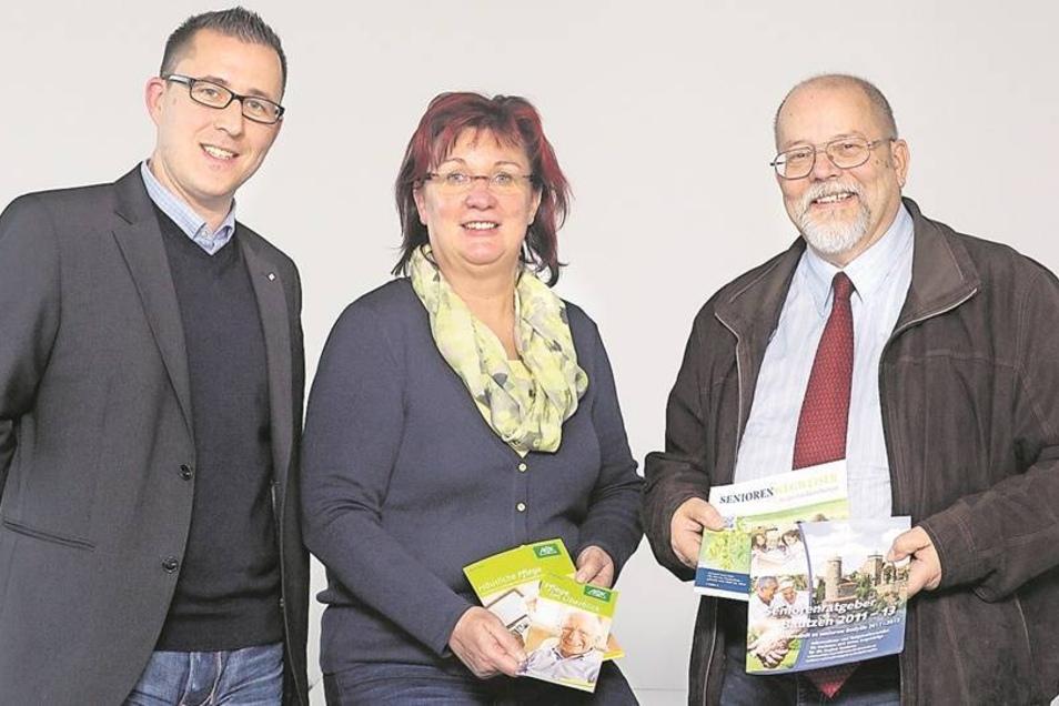 Unsere Experten am SZ-Telefon: Frank Gollmann vom MDK, Regina Creutz von der AOK Plus und Hannes Köhler vom Landratsamt Bautzen. Foto: Ronald Bonss