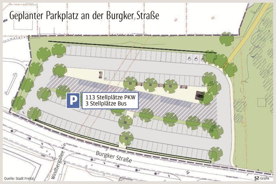 Nach einem ersten Entwurf wurden später die Stellplätze noch einmal geringfügig auf 113 für Pkws und drei für Busse reduziert.