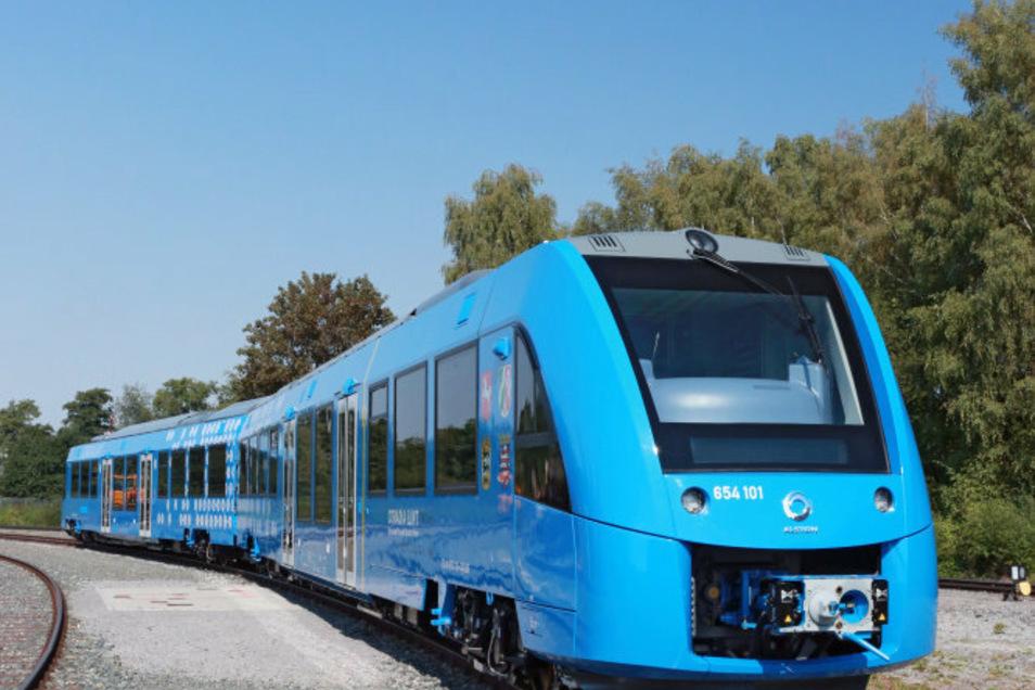 Diesen Zug, der seinen Antrieb aus Wasserstoff bezieht, fertigt Alstom (noch) nicht in Bautzen, sondern in Frankreich. Der französische Schienenfahrzeugbauer möchte das Unternehmen Bombardier Transportation kaufen.