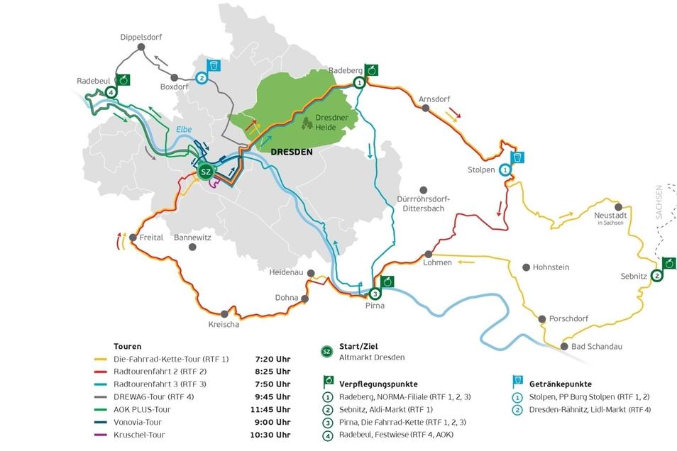 Die sieben Routen zum SZ-Fahrradfest 2019.