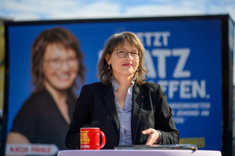 Katja Pähle (SPD), Spitzenkandidatin der SPD bei den Landtagswahlen in Sachsen-Anhalt, stellt ihre Wahlkampagne vor.