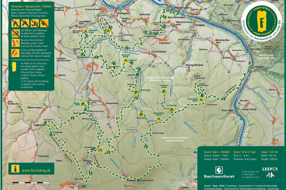 Fünf Trekkinghütten und sechs Biwakplätze gibt es am 110 Kilometer langen Forststeig Elbsandstein.