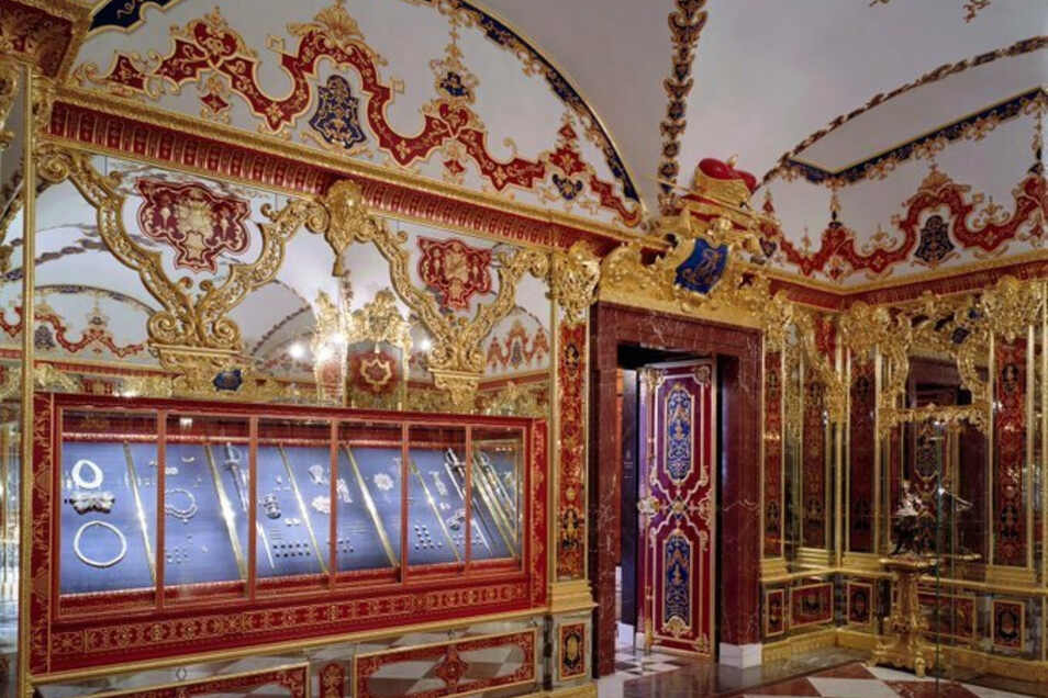 Der Schmucksaal des Grünen Gewölbes. In Dresdens Schatzkammer ist am Montagmorgen eingebrochen worden. Der Einbruch betrifft den historischen Teil der wertvollen Sammlung.