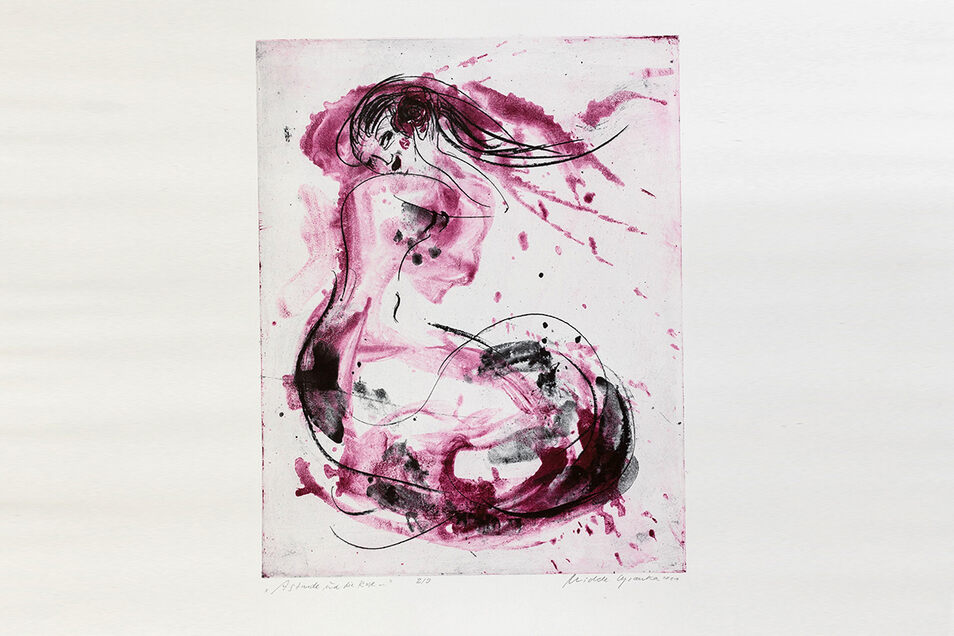 """Die Farbalegrafie """"Astarde und die Rose"""" von Michele Cyranka wird in Tharandt versteigert."""