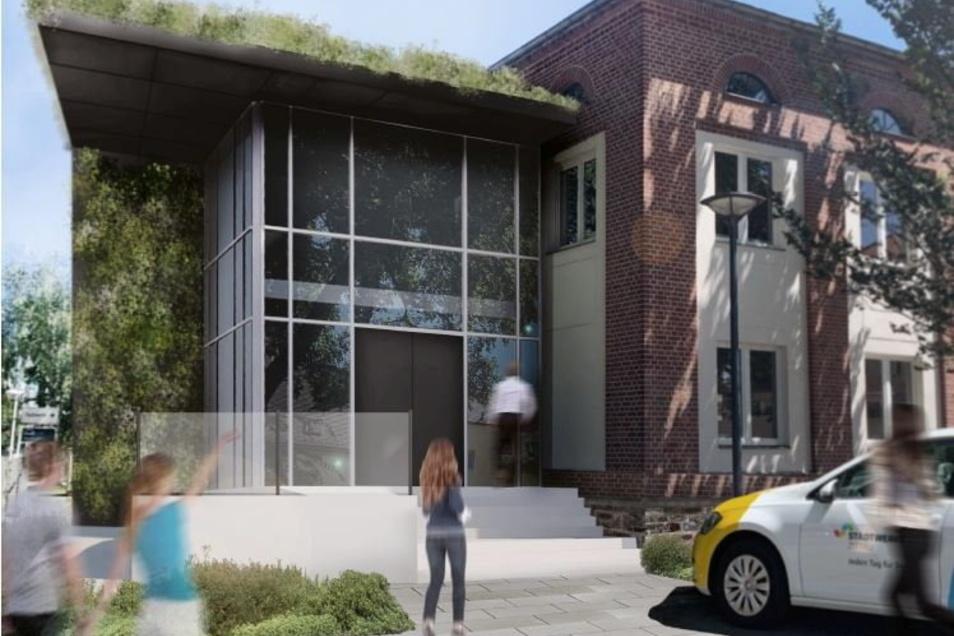 So soll das neue Treppenhaus des Kundencenters aussehen.