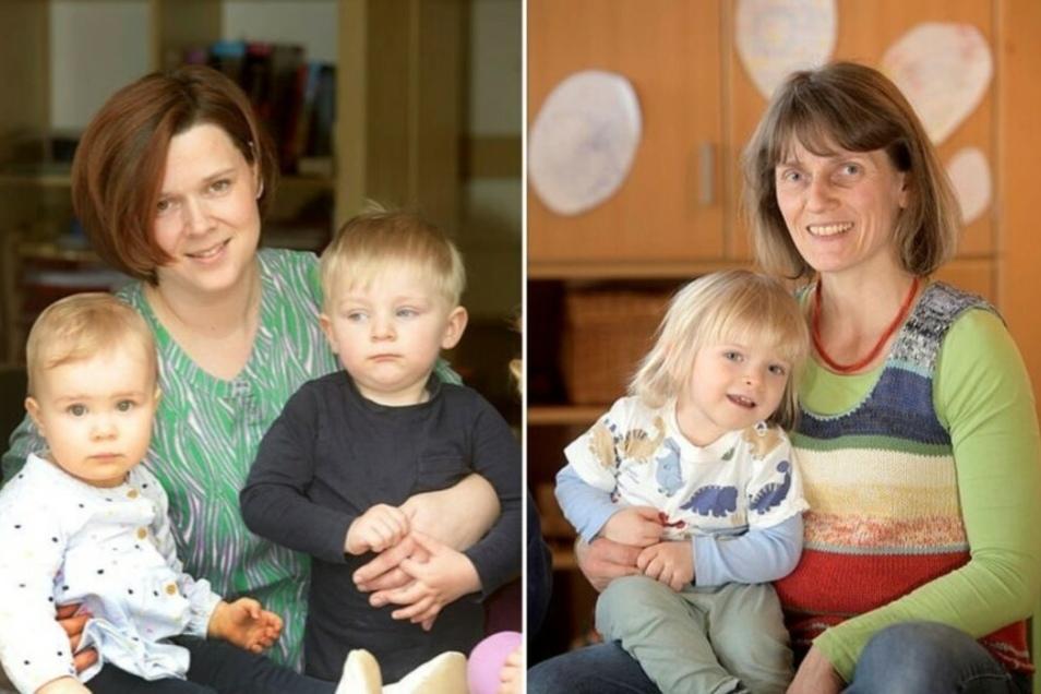 Katja Meyer aus Kittlitz (links) und Annett Gnieser aus Löbau sind die letzten zwei von einstmals fünf Löbauer Tagesmüttern. Sie wehren sich gegen die Kündigung der Stadt.
