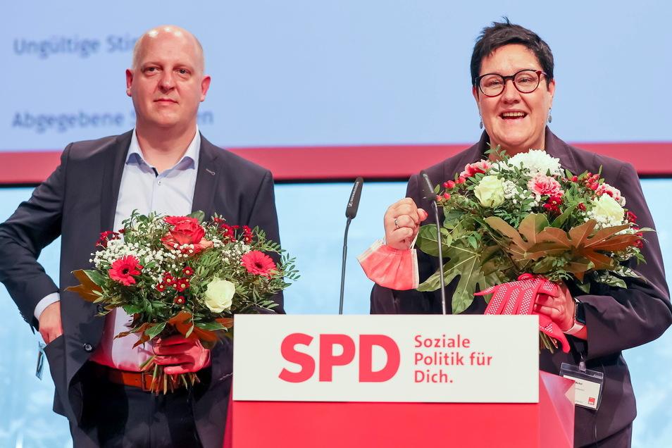 Kathrin Michel und Henning Homann sind die neu gewählten Parteichefs der SPD in Sachsen.