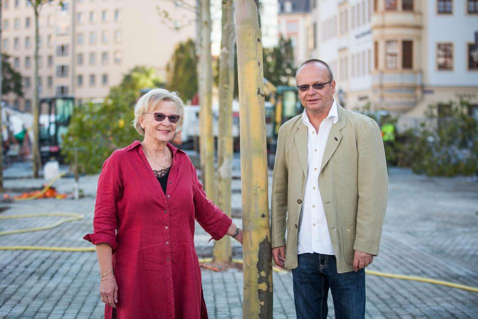 Martina und Rainer Hawranke haben 5.000 Euro für eine ahornblättrige Platane auf dem Neumarkt gespendet. Nun hat es ihnen ein Dresdner Brunnen angetan.