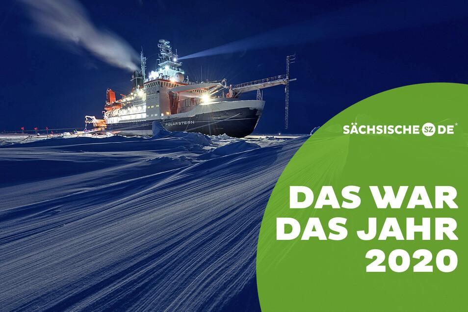 Der deutsche Forschungseisbrecher Polarstern driftet ein Jahr im Eis der Arktis.