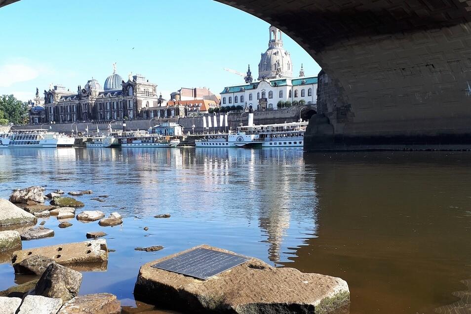 Auf den neuesten Dresdner Hungerstein an der Augustusbrücke wurde am 25. Juli diese Tafel angebracht.