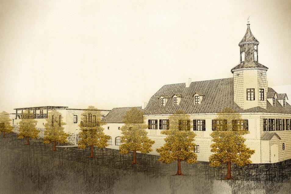 Wie sich der Neubau (links) an der Hoflößnitzstraße hinter dem markanten Meinholdschen Turmhaus einordnet, illustriert diese Zeichnung.