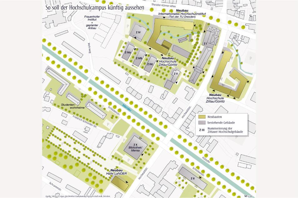 Am Zittauer Stadtring, da wo einst das Haus III stand, und auf dem ehemaligen Lautex-Gelände an der Hochwaldstraße sollen große, neue Hochschulgebäude entstehen.