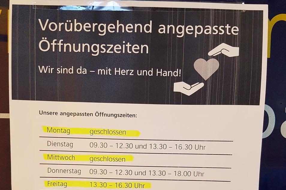 Die Postbankfiliale an der Kamenzer Poststraße kann krankheitsbedingt zurzeit nicht mit kundenfreundlichen Öffnungszeiten dienen. Das soll sich nächste Woche wieder ändern.