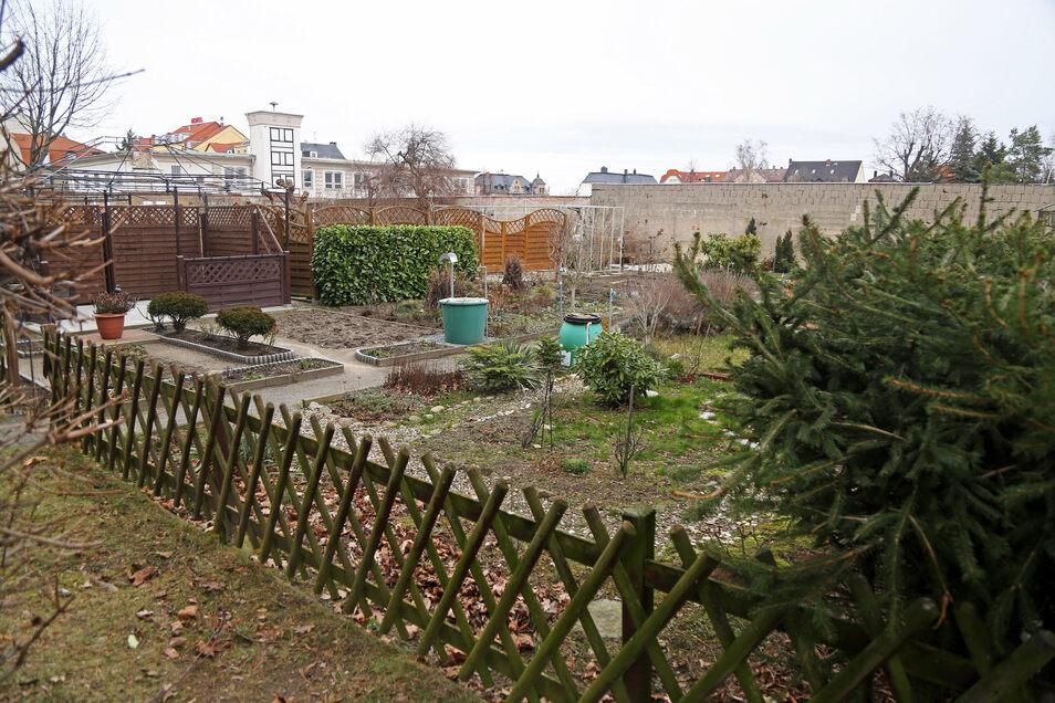 Ein Blick auf die Gärten der Anwohner vom Lutherplatz. Die Mauer im Hintergrund soll fallen, auch das links hinten erkennbare Feuerwehr-Gerätehaus an der Pausitzer Straße.