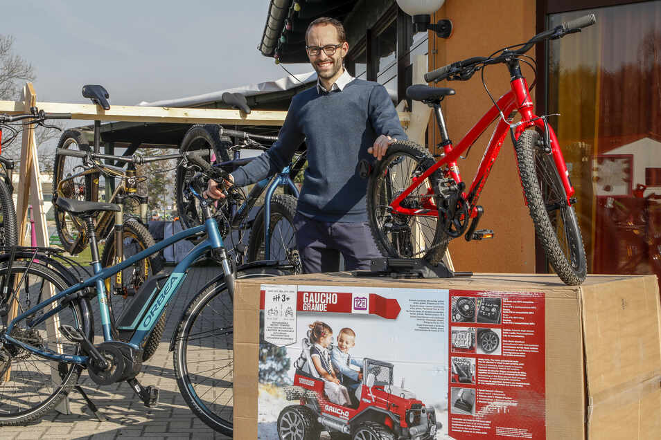 "Jens Jankowski eröffnete am 6. April 2019 sein JJ-Bikes Trixi Store"" im Trixi-Ferienpark in Großschönau."