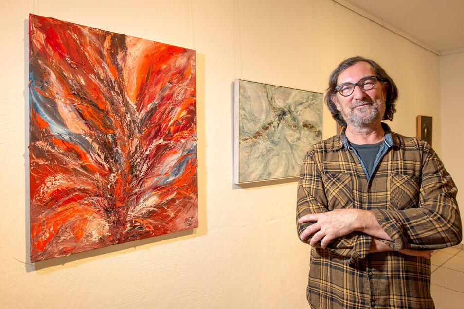 Der Künstler Peter Pit Müller stellte jüngst in der Radebeuler Stadtgalerie aus. Nun öffnet er sein Atelier.
