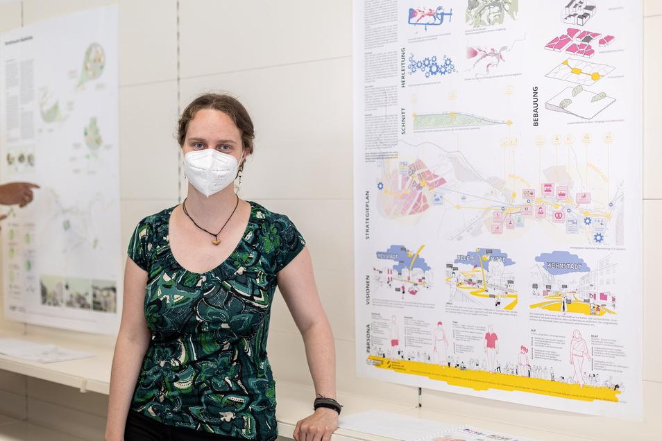 Lisa Caroline Semper ist eine von 15 Studierenden, die ihre Ideen für eine Glashütter Neustadt derzeit in der Ideen-Galerie Nr. 1 präsentieren.