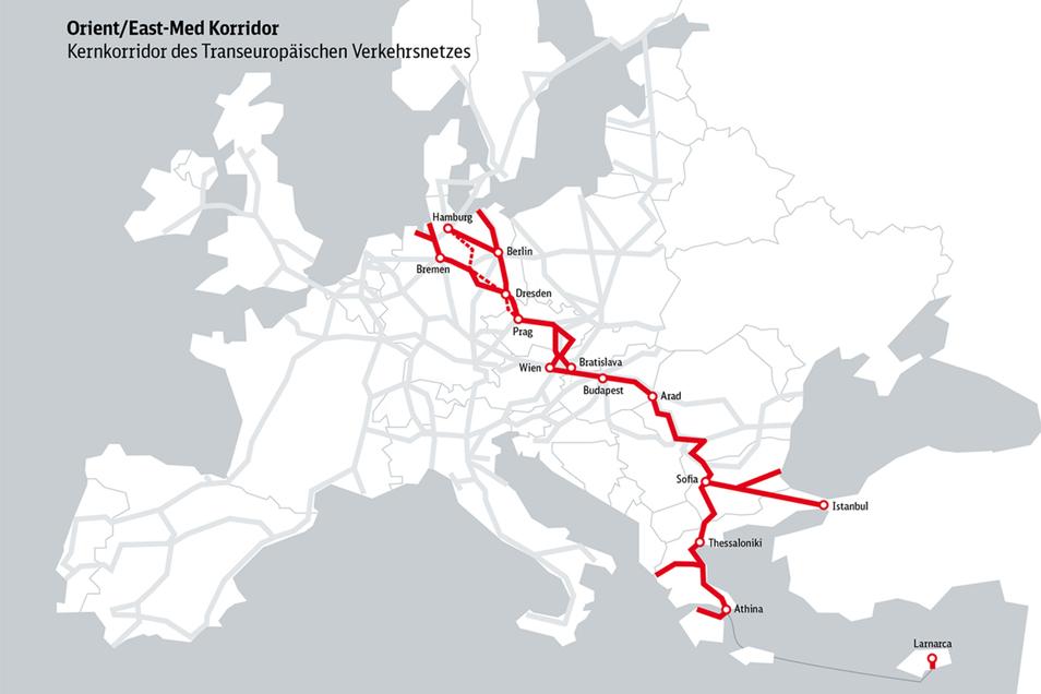 Der Bahntunnel würde zum Kernkorridor des mitteleuropäischen Verkehrsnetzes gehören.