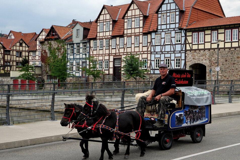 In diesem Sommer nahm Winfried Mattutat mit seinen Mini-Pferden am Friedenstreck teil.