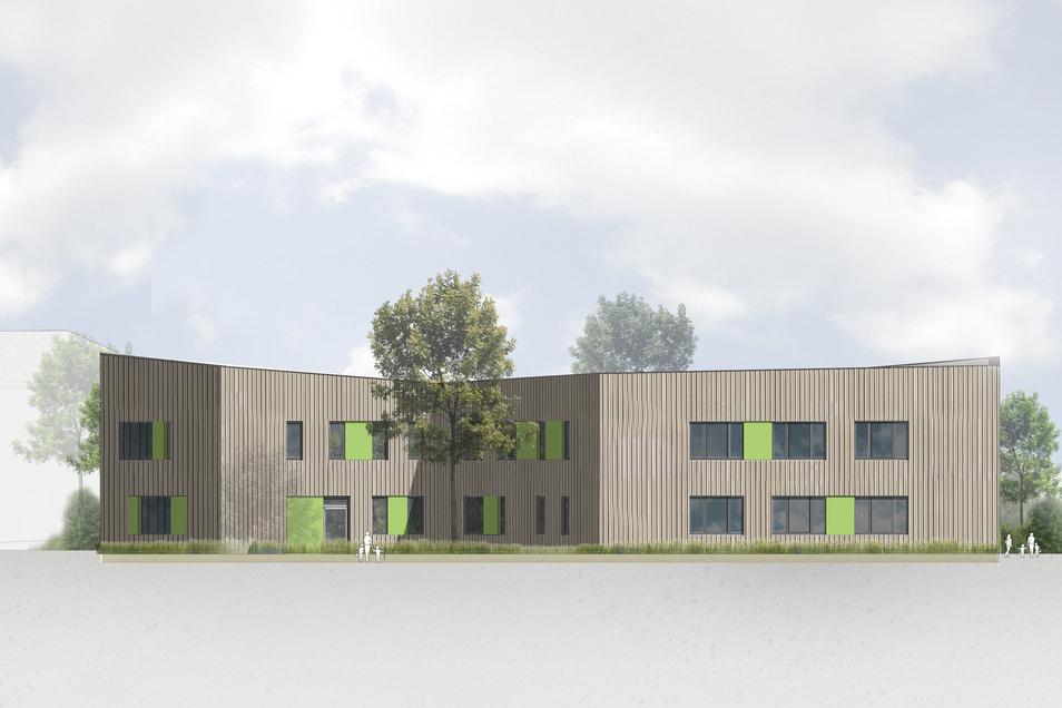 Die Architekten haben einen zweigeschossigen Bau mit einer Fassade in Holzoptik geplant.