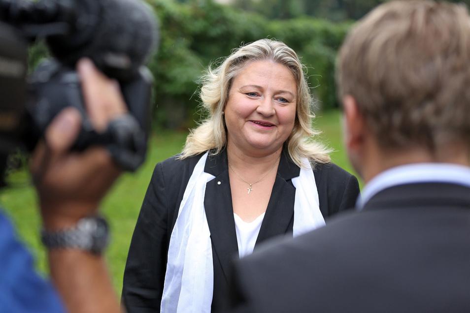 Antje Hermenau, Spitzenkandidatin der sächsischen Grünen, ist nach dem knappen Einzug ins Parlament erleichtert.