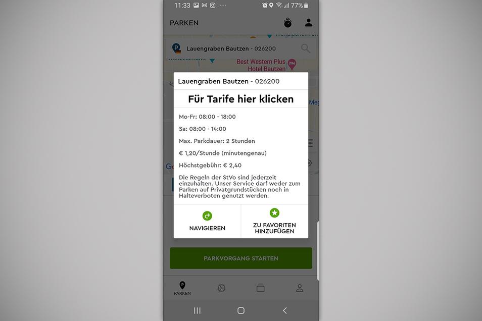 In der App können sich Parkende die Kosten auf dem Parkplatz anzeigen lassen.