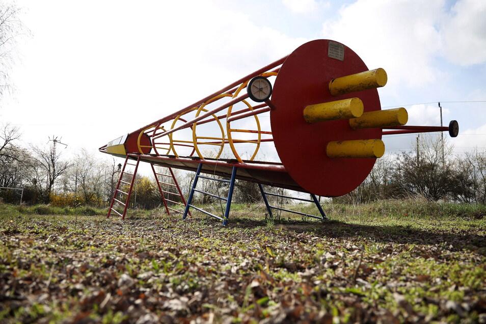 Das ist die Original-Kletter-Rakete aus DDR-Zeiten, die Holger Krüger nachgebaut hat.