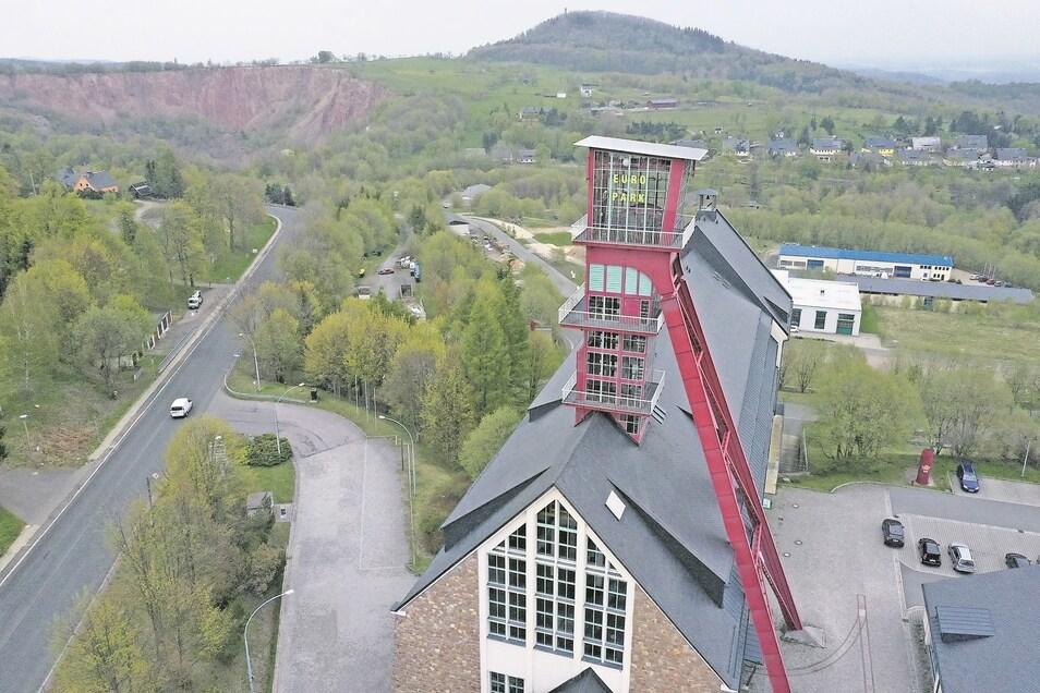 Das ist Welterbe: der ehemalige Zentralschacht im Europark Altenberg.