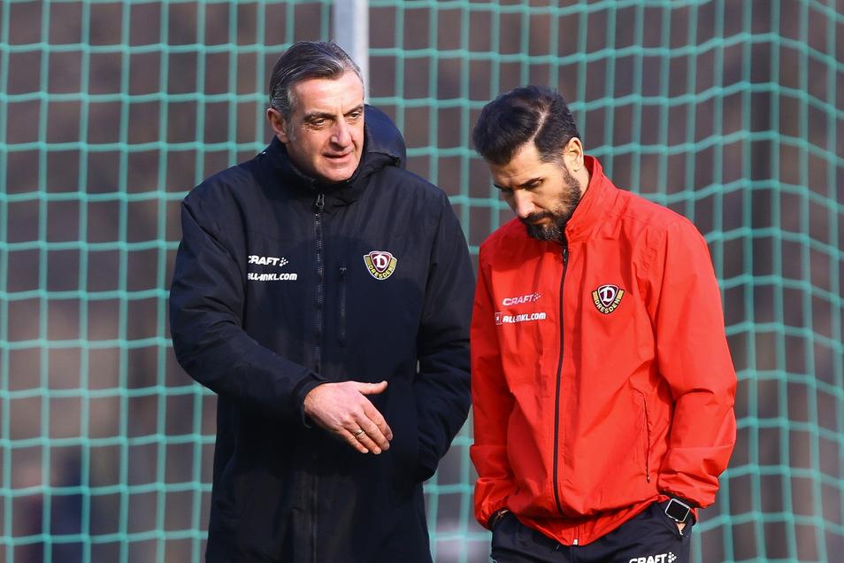 Bilden weiter eine Einheit: Dynamo-Sportgeschäftsführer Ralf Minge und Cheftrainer Cristian Fiel.