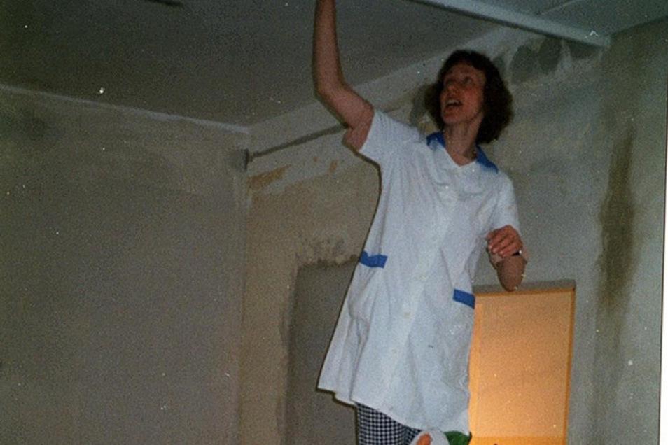 Die Apothekerin steht auf der Leiter. Heidrun Schleiermacher legte beim Umbau selbst mit Hand an.