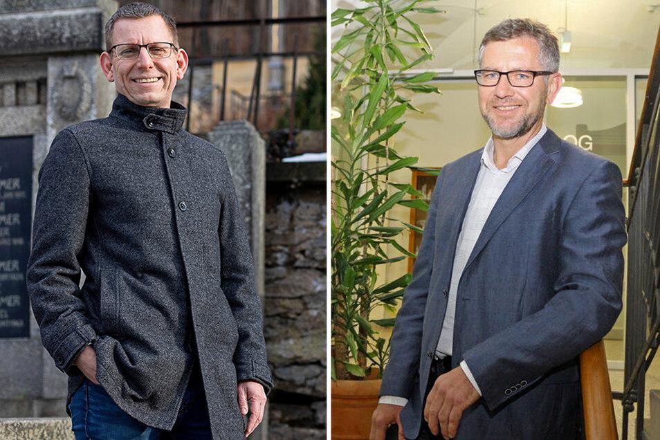 Zwei Kandidaten für das Amt des Bürgermeisters in Pirna: Markus Dreßler (l.) und Steffen Caspar.