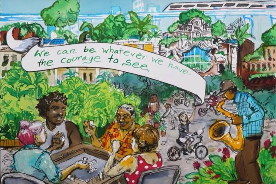 """Was wäre, wenn wir tatsächlich einen Green New Deal auf die Beine stellen würden? Wie würde die Zukunft aussehen? Das fragt die US-Abgeordnete Alexandria Ocasio-Cortez in dem Kurzfilm """"A Message from the Future"""". Hier wird anders und neu über den Klimawan"""