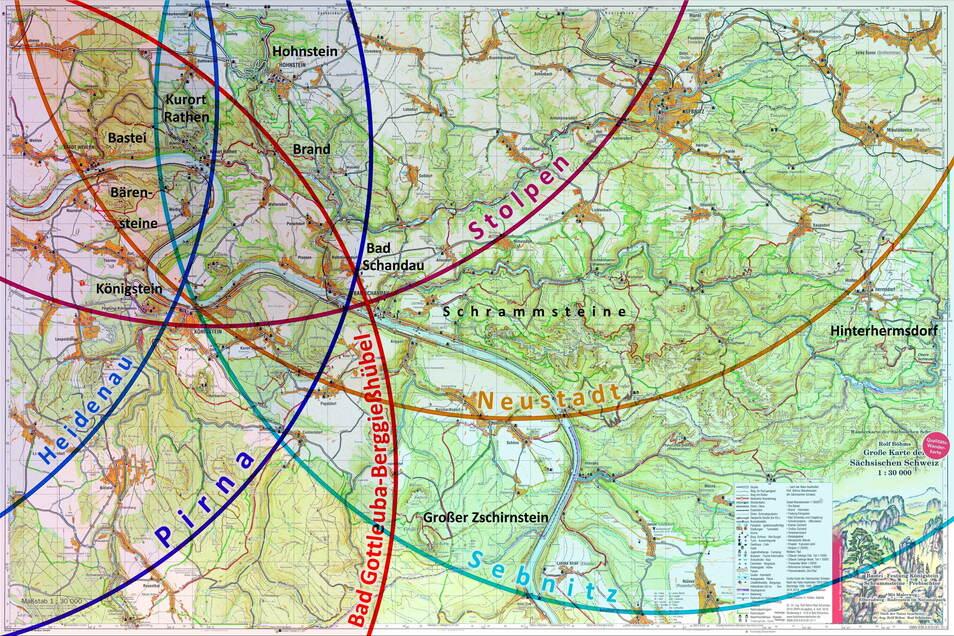 Karte der Sächsischen Schweiz: Der 15-Kilometer-Umkreis um die größeren Städte der Region.