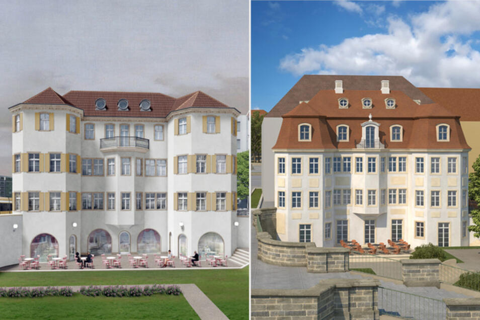 Diese Entwürfe für das Narrenhäusel sind favorisiert: Rechts der am Barock angelehnte von Martin Trux, links der Modernere von Pontus Falk.