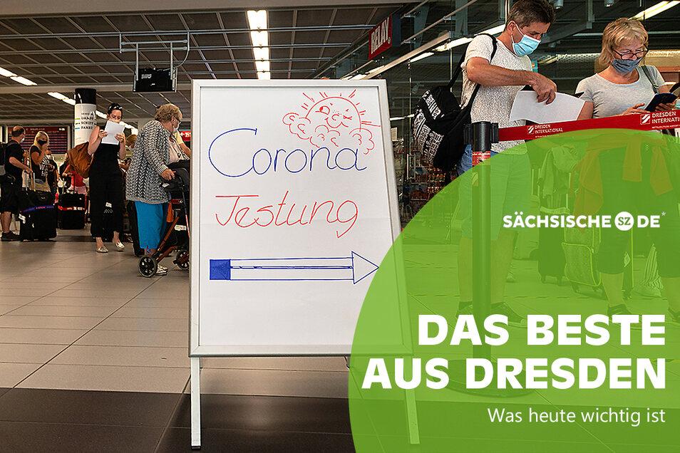 Corona-Schnelltests am Dresdner Flughafen.