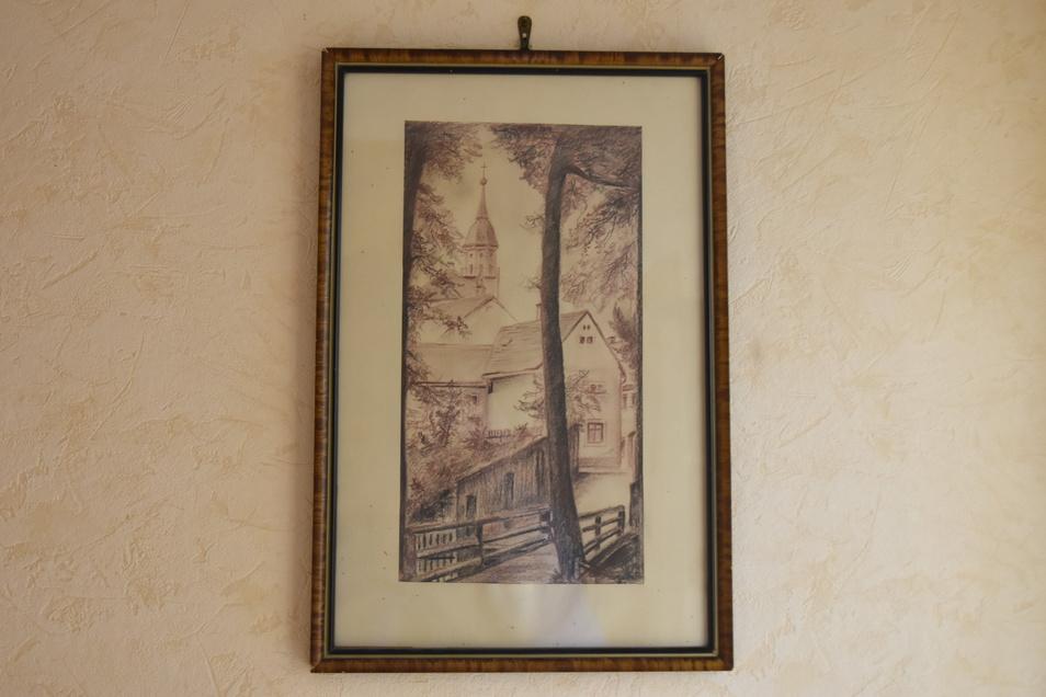 Das Gemälde von Kurt Kassner zeigt den Blick über die Pfarrgasse zum Altmarkt.